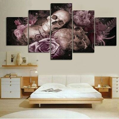 5 Panels Skull Rose Canvas Prints Painting Home Background Wall Picture S/L