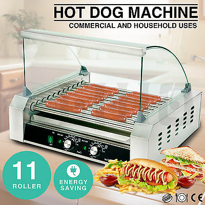 Commercial 30 Hot Dog 11 Roller Grill Stainless Steel Cooker Machine w/Cover CE