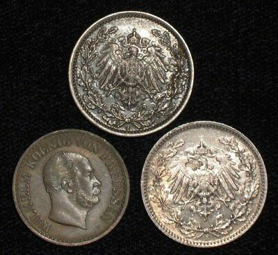 3 Silver Coins from Germany.  1870-1918.  No Reserve!!