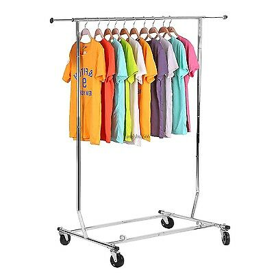 "Heavy Duty 69.7"" Commercial Clothing Garment Rolling Rack Shelf New US"