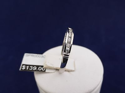 SOLID STERLING SILVER ETENITY RING 8x 2.00mm cubic zirconias channel set 1.7gr.
