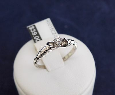 SOLID STERLING SILVER RING-2.25mm Cubic Zironia 1.3gr.