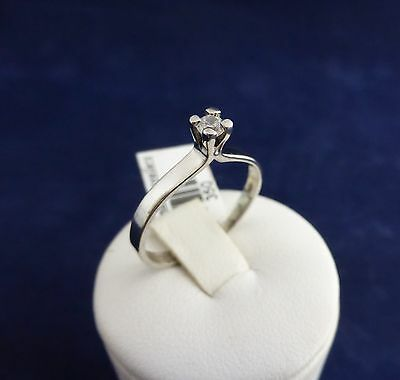 SOLID STERLING SILVER SOLITAIRE RING 1X3.0mmm cubic zirconia 1.5gr.