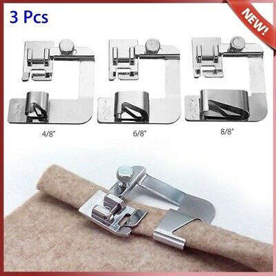 3Pcs Wide ROLLED HEM  Hemmer Foot For Domestic Sewing Machines Snap on Presser