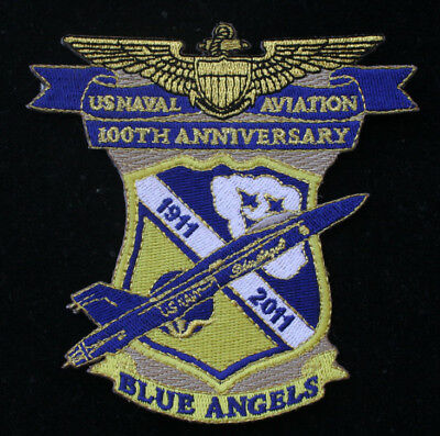 100Th Anniversary 2011 Us Navy Blue Angels Patch Uss Marines Wing F18 Hornet Br