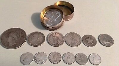 Vintage Silver World Coin Lot of 123.1 g Mixed Silver Foreign Coins and stamped