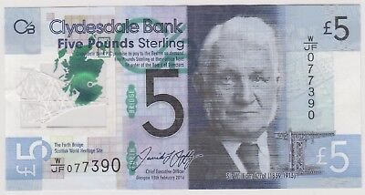 2016 £5 Five Pounds Clydesdale Bank Scotland  Note Circulated 390