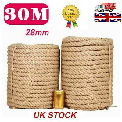 30M 28MM Natural Jute Hessian Rope Cord Braided Twisted Boating Garden Decking