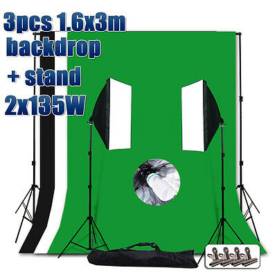 Photo Studio Continuous Softbox Soft Box Lighting Backdrop Background Stand Kit