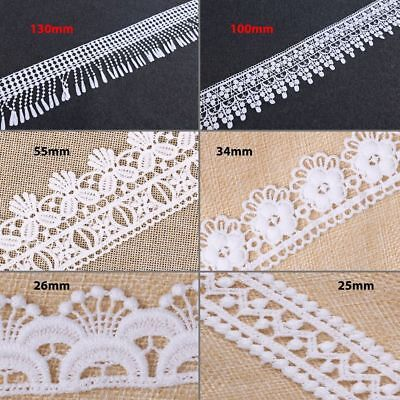 2m White Cotton Vintage Style Broderie Anglaise Lace Trim Wedding Shabby Craft