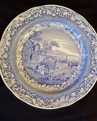 """Spode blue/white display plate. The Engravers Collection. """"Byron Views""""."""