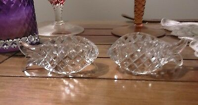 A pair of Crystal /cut glass fish Napkin/serviette holders
