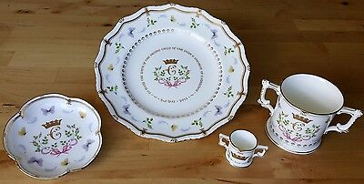 Royal Crown Derby Birth of Princess Charlotte, Four Piece Set