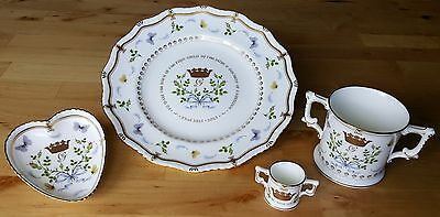 Royal Crown Derby Birth of Prince George, Four Piece Set