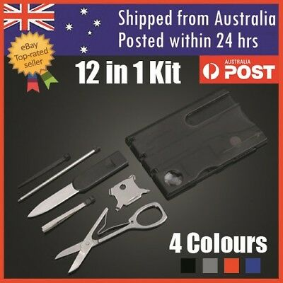 Multi Tool Credit Card Size Kit LED Functional Knife 12 in 1 Camping Card Tool