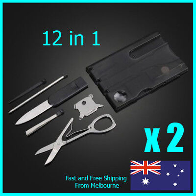 2 x Multi Tool Credit Card Size Kit Functional Knife 12 in 1 Survival Camping