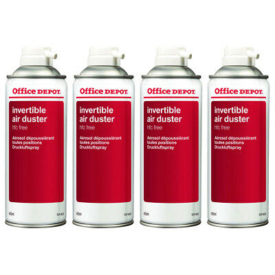 4 x Office Depot Compressed Air Duster Can Laptop Keyboard Cleaner Spray 400ml