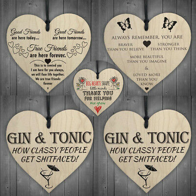Red Ocean Gin&Tonic Classy People Novelty Wooden Hanging Heart Kitchen 10x10cm