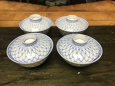 Set Of Fine Chinese Blue White Lidded Serving Rice Bowls Circle Marks Minty