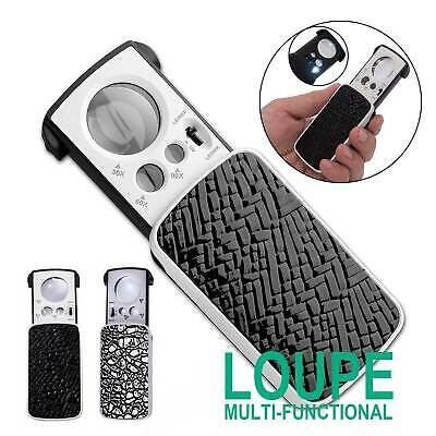 Pocket 30/60/90X Magnifying Magnifier Jewellers  LED Light Glass Loupe Slide Out