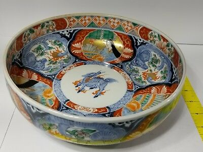 Japanese Old Imari-ware Colored porcelain BIG BOWL Freeshipping 1 DAY AUCTION