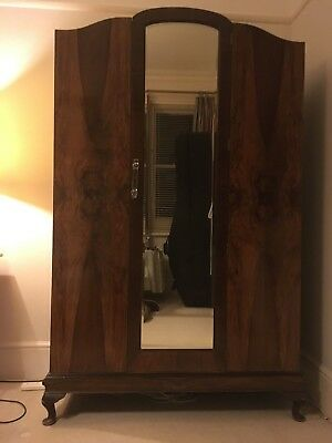 Wardrobe, walnut veneer with mirror
