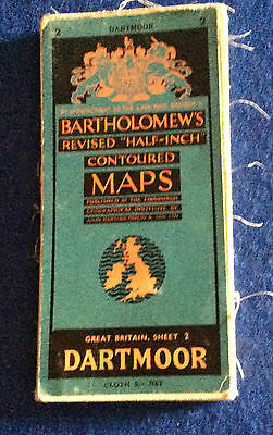 Bartholomew's revised half-inch contoured cloth map Dartmoor Sheet 2, 1951