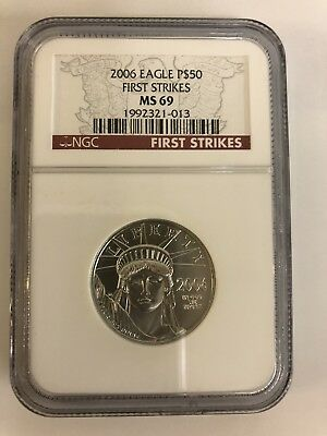2006 American Platinum Eagle $50 1/2 Ounce Coin Ngc Ms69 First Strike