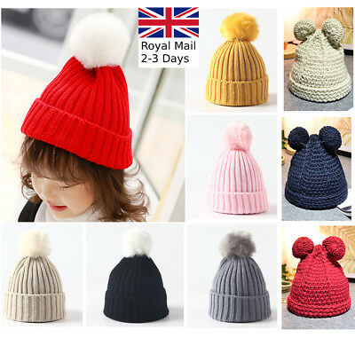 Kids Children Winter Warm Knit Beanie Hat Boys Girls Fur Pom Bobble Crochet Cap