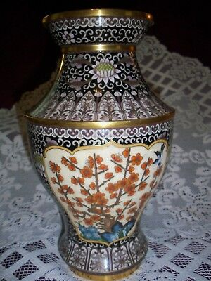 Brass and Cloisonne' Oriental Inspired Floral and Birds Vase
