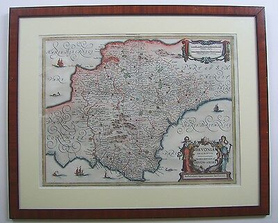 Devonshire: antique map by Jan Jansson, 1644