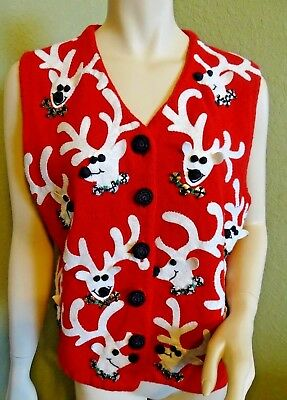 PRE-OWNED MICHAEL SIMON Women's Sz. L Holiday 1999 Red Knit White Reindeer Vest
