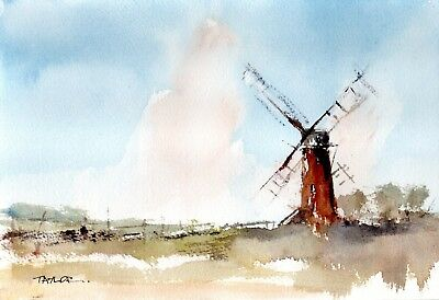Original Watercolour Painting 'Old Windmill View'