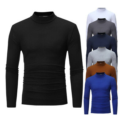Us Stock Men Roll Neck Long Sleeve High Quality Cotton Top Polo Neck Turtle Neck