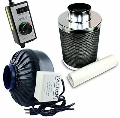 VenTech VT IF4+CF4-B Inline Exhaust Blower Fan with Carbon Filter and Variabl...