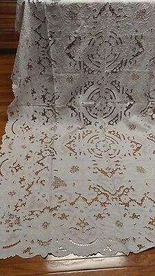 "Vintage heavy cut out embroidery Madeira linen tablecloth 98""×68""  napkins NOS"