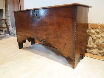 Coffer chest box Queen Anne Elm six plank c1700