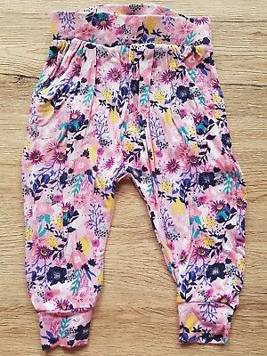 2 Baby girls harem jersey pants pink blue bunnys flowers 00 000