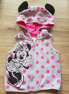 Baby girls lightweight minnie mouse jacket hoodie ears pink 0 New