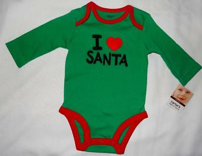 Carter's Baby Boy 0-3 Months Christmas Green Bodysuit One-Piece 100% Cotton SOFT