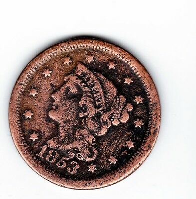 1853 Large Cent- 164  Years Old-Nice Detail-Free Shipping