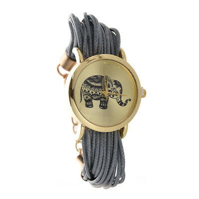 Women'S Elephant Dial Braided Wrap Bracelet Wrist Watch Grey Z5L5