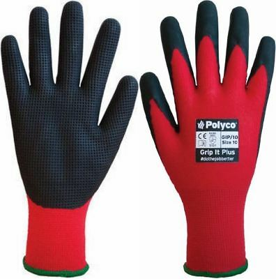 Polyco Grip It Plus Latex Waffle Extra Grip Palm Builders Safety Work Gloves