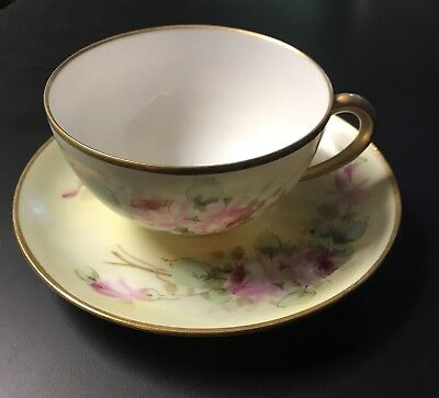 Thonander China Germany American Rose Gold Green Teacup And Saucer Antique
