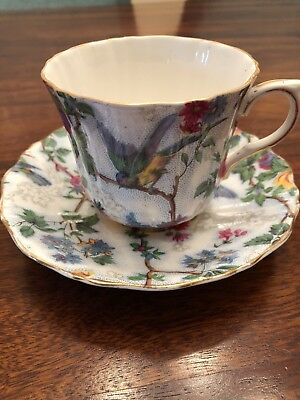VTG Chintz Tea Cup and Saucer Old Royal Bone China England Roses Birds Lace