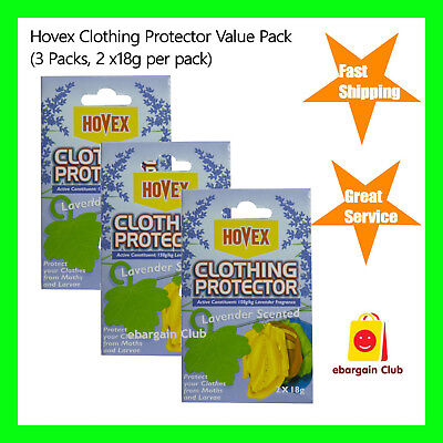 Hovex Clothing Protector Lavender Scented Value Pack 3 Packs -2x18g per pack eBC