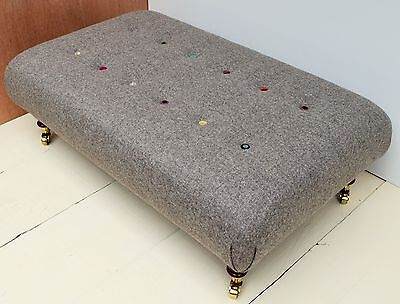 New Buttoned Handmade Large Footstool / table - Moon 100% Wool Flint Fabric!!!