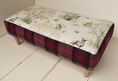 New Large Handmade Footstool - Voyage Enchanted Forest & Moon Skye Heather!!