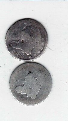 2 Bust Style Half Dimes 1836 Believe The Other Is 1836 Also-- -Free Shipping
