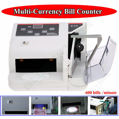 Bank Note Multi-currency Bill Cash Counter Counterfeit Money Detector 600 Minute